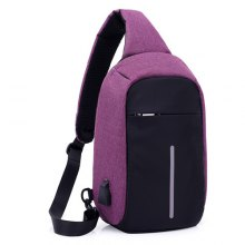 aebd9db7cea4 Men Small Chest Bag USB Charge Polyester Travel Sport Sling Bag