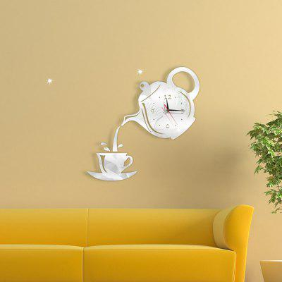 Coffee Teapot Cup Creative DIY Acrylic Mirror Wall Clock Wall Stickers Clock Home Decoration