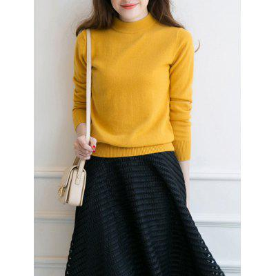 Wool Knit Sweaters Casual Half Turtleneck Long Sleeve Sweater