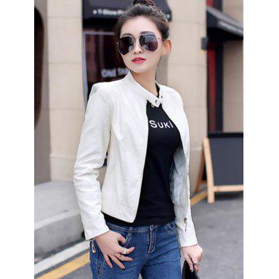 Women Fashion PU Leather Zipper Jacket