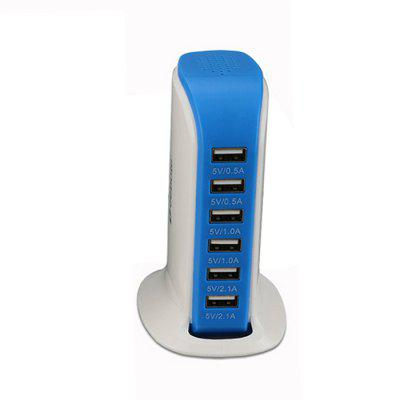 6-port USB Sailboat Plug Multi-interface Mobile Phone Charging Station 30W Vertical Universal Charger