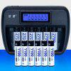 K66 Multi-function Smart Rechargeable Battery Set Battery Charger with AA AAA Rechargeable Battery Each 6 Sections - JET BLACK