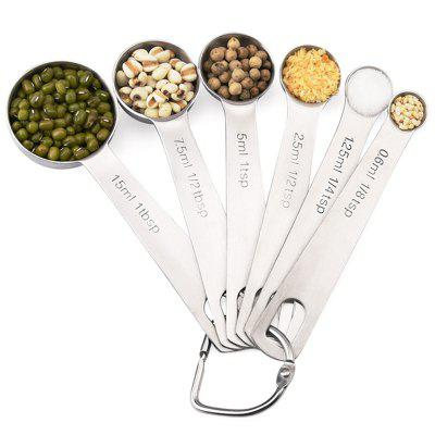 Scale Stainless Steel Measuring Spoon Set Baking Tool 6 Piece Set Measuring Spoon Mold Kitchen Tool