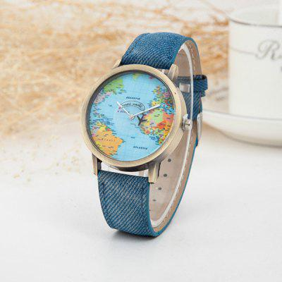 Moda Retro Belt Quartz Assista Novo Aircraft Second Hand Map Assista
