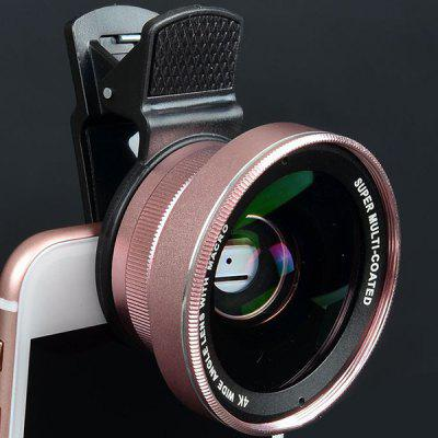 0.45x Super Wide-angle + Macro Lens Mobile Phone SLR External Camera 52MM UV Distortion-free Wide-angle Lens