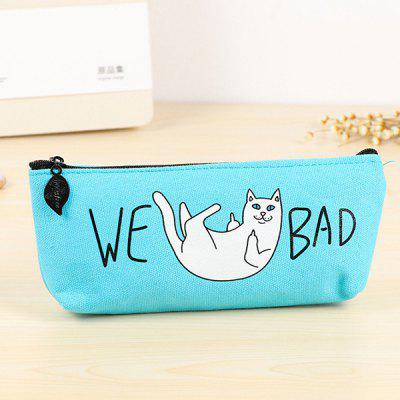 Funny Cat Canvas Pencils Pen Bag Case Pouch Stationery Students School