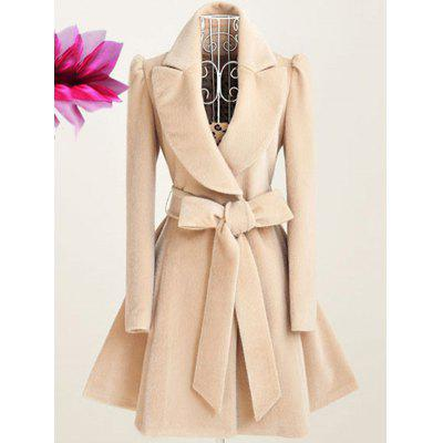 Apparel Down Collar Wool Blend Long Outwear Coats Poncho Capes Warm Cloak Overcoat Jacket
