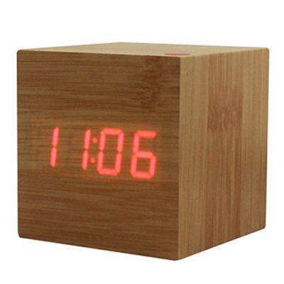 Creative Electronic Wooden Clock LED Alarm Wood Clock Voice Control