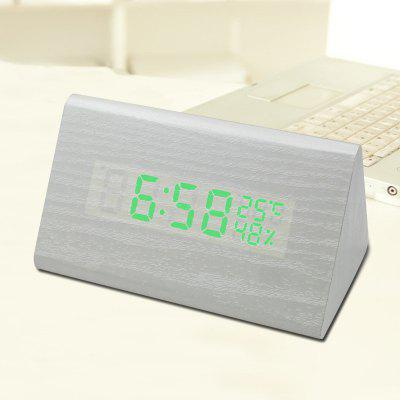 Creative Alarm Clock Wood Clock Led Wooden Electronic Alarm Clock Voice Control Clock