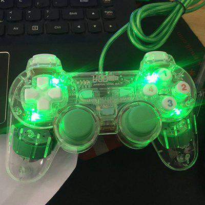 Computer Game Controller Pc Wired Game Controller Usb Interface Transparent Light With Lights