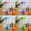 Juice Cup Student Household Fruit Mini Machine Dormitory Mini Electric Portable Juicer - 6-LEAF GLASS BODY DOUBLE POWER (BLUE)