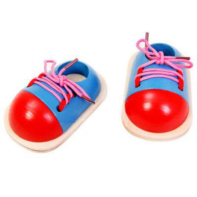 Wooden Shoes Baby Kindergarten Education Tied Lace Toys