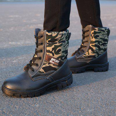 Work Shoes Labor Insurance Shoes Men Cotton Shoes Anti-smashing Electric Welding Shoes Winter Warm Cold Thick Fluffy Waterproof Oilfield Boots