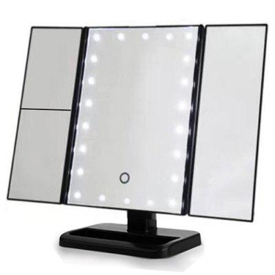 LED Light Makeup Mirror Desktop Three-sided Folding Three Folds With Light Mirror Makeup Mirror
