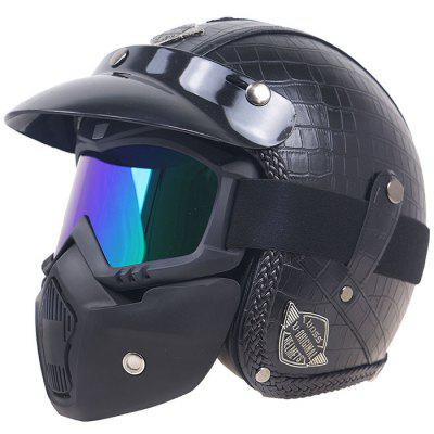 High-end Motorcycle Half Retro Riding Protective Helmet with Mask