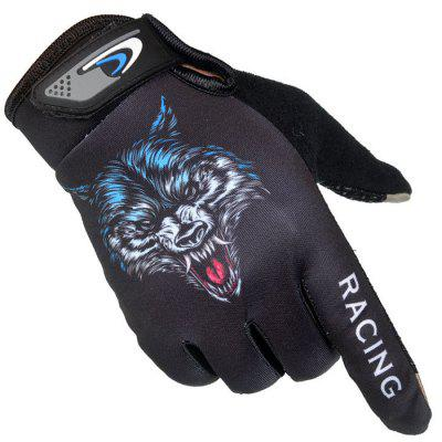 Men And Women Riding All-finger Gloves Outdoor Sports Fitness Wolf Head Touch Screen Thin Section Non-slip Sun Riding Long Finger Gloves