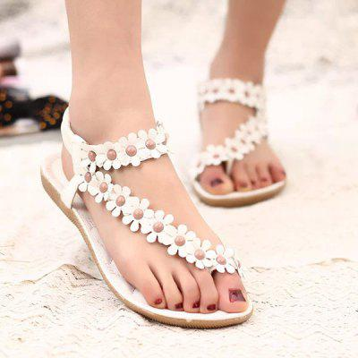 Bohemian Sandalen Damesschoenen Pinch Summer New Beaded Teen Flowers Flat Shoes