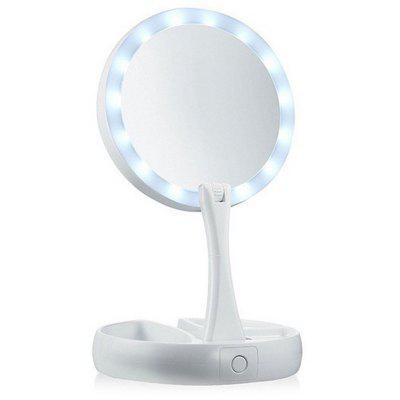 Folding LED With Light Beauty Makeup Mirror Desktop Double-sided Makeup Mirror 10 Magnifying Glass LED Makeup Mirror