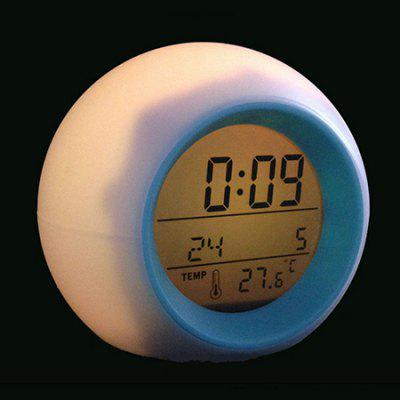 Multi-function Colorful Natural Sound Alarm Round Pat Light Clock