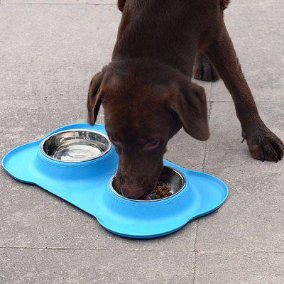 Tipo de osso Pet Bowl Pet Tigela Dupla Pet Dog Tigela Food Bowl Silicone Dog Food