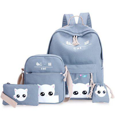 Girls Cat Backpack Set School Canvas Bag