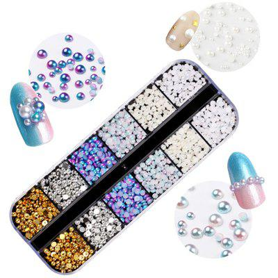 Nail Art Jewelry Decoration Symphony Mermaid Pearl White Pearl Flat Rhinestone Rivet Jewelry