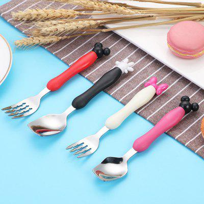 Creative Cartoon Children's Tableware Stainless Steel Cutlery Two-piece Cute Fork Spoon Gift Box Set