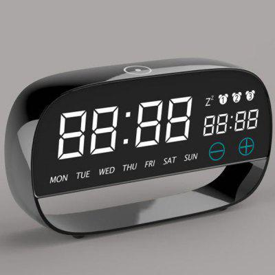 Metal Living Room Decoration Alarm Clock Led Electronic Clock Power Supply Circular Temperature And Humidity Meter Electronic Clock