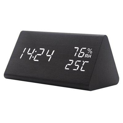 New Temperature and Humidity Creative Alarm Clock Voice Mute Led Electronic Wood Clock