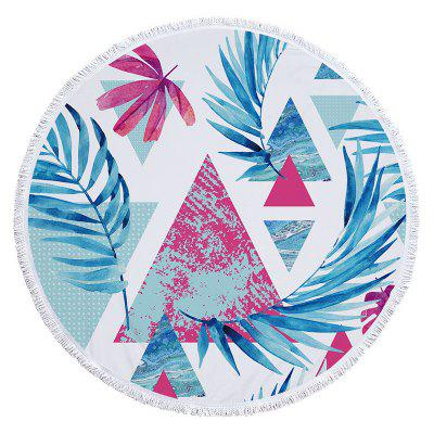 Microfiber Round Beach Towel Bath Towel Palm Leaf Print With Tassel
