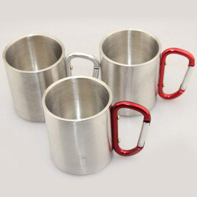 220 Stainless Steel Cup Outdoor Sport Camping Portable Water Coffee Beer Mug with Lock Buckle