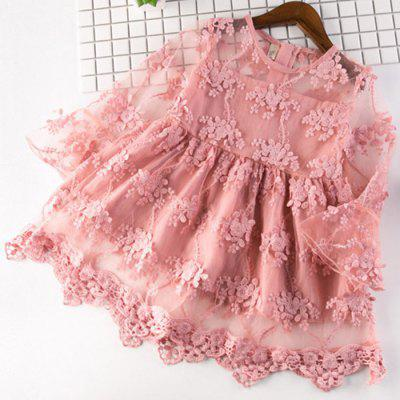 5350 Lace Trumpet Sleeve Embroidered Princess Dress