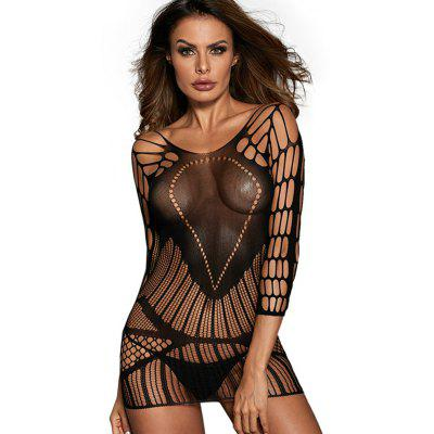 LC31164 - 2 Female Sexy Seamless Mesh Hollow-out Bodysuit