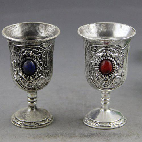 2PCS Dollhouse miniature red wine glasses cup goblet bar party drink CYCA