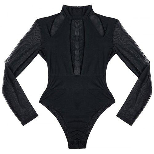 fcc5e88455 LC32282 - 2 Sheer Long Sleeved Front Cut Out Bodysuit