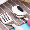 Creative Cartoon Children's Tableware Stainless Steel Cutlery Two-piece Cute Fork Spoon Gift Box Set - RED BLACK (LARGE SIZE)