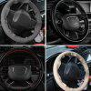 Car Modification DIY Four Seasons Universal Hand-sewn Leather Steering Wheel Cover One With Needle Thread - BLACK