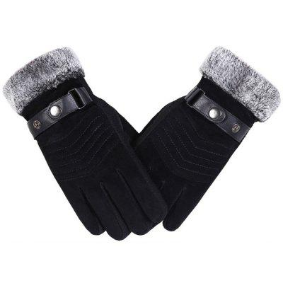 Leather Gloves Windproof Waterproof Anti-slip Thick Warm Gloves for Men