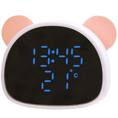 Creative Panda Mirror Alarm Clock Cartoon Student Child Voice Control Led Digital Electronic Lazy Snooze Mirror Alarm Clock