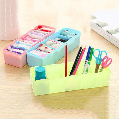 Plastic Five Grid Household Drawer Finishing / Underwear Socks / Desktop Cosmetics Storage Box