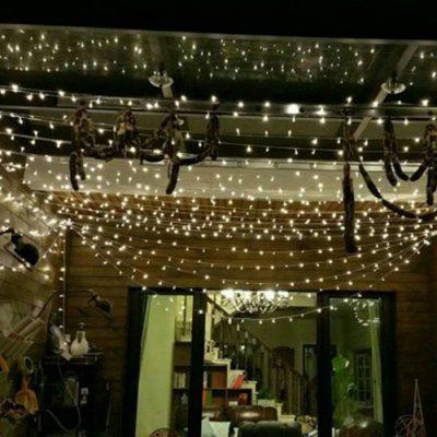 LED-uri în aer liber impermeabil care luminează intermitent Starry Christmas Day decorare Lumini de coarde