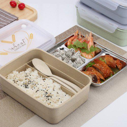 304 Stainless Steel Compartment Double Lunch Box Insulated Lunch Box  Microwave Lunch Box Japanese Student Adult Plastic Box