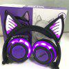 Cat Ears Overall Luminous Rechargeable Wireless Bluetooth Mobile Phone Computer Headset Folding Headphones - GREEN