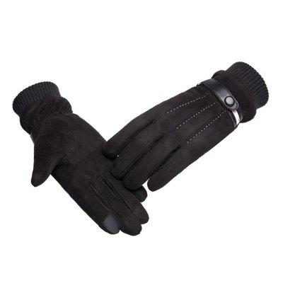 Autumn Winter Men Warm Windproof Touch Screen Outdoor All-finger Non-slip Gloves Riding Dual-use Gloves