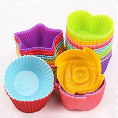 7cm Silicone Muffin Cup Round Heart-shaped Baking Cake Mold