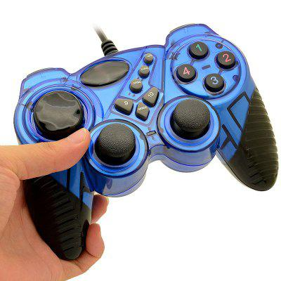 Computer Wired Game Controller USB Cable PC Handle Double Vibration