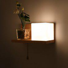 Creative Solid Wood Storage Bedside Wall Lamp Aisle Corridor Anese Style Lighting Modern Minimalist Living