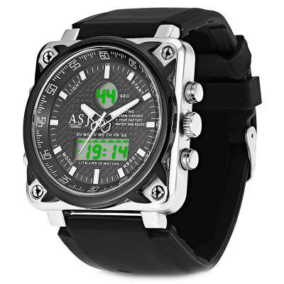 ASJ B181 Dual Movt Sports LED Male Watch Calendar Stopwatch Alarm Men Wristwatch