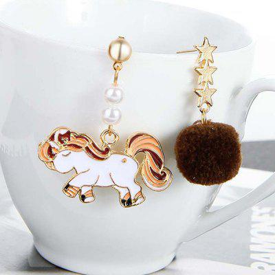 Emalia Unicorn Star Hair Ball Asymmetric Drop Earrings