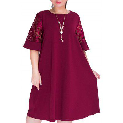 Solid Color Round Collar Splicing Dress